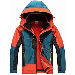 DIDIDD Two Sets of Outdoor Clothing Triple Men and Women Couple Jackets Waterproof Warm Double-Sided Fleece,Orange,L