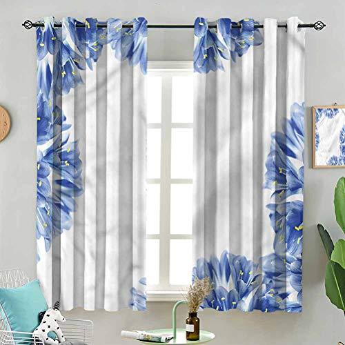 Dasnh Modern Window Curtain Delicate Crocus Border W63 x L63 Inch (2 Panels) Indoor for Living Room