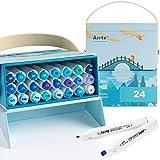 Arrtx ALP Rotuladores 24 Colores Doble Punta, Marcadores Permanentes para Graffiti Acuarela Dibujar Bocetos Colorante Pintar con caja portátil azul única, Ideal para Niños, Adultos, Artistas, Regalo