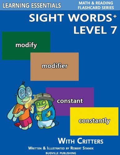 Sight Words Plus Level 7: Sight Words Flash Cards with Critters for Grade 3 & Up (Learning Essentials Math & Reading Flashcard Series) (Bugville Critters Book 70) (English Edition)