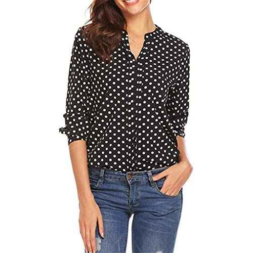 Fudule Womens Tops Blouse Lange Mouw Mode Polka Dot Shirts voor Vrouwen Kantoor Werk Sexy V Hals Casual Losse T-Shirt