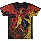 Liquid Blue unisex adult Dragon Vintage All Over Print Short Sleeve T-shirt T Shirt, Black, Small US
