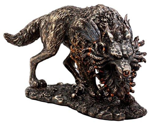 Ebros Gift Viking Norse Mythology Fenrir Statue 8.25' L Vánagandr Giant Wolf Figurine Poetic Edda