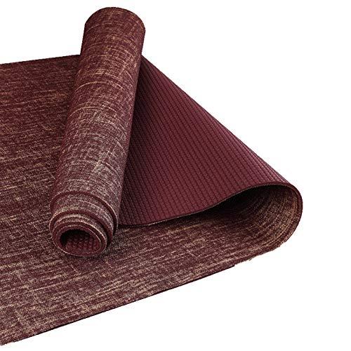 Mat de ejercicios de fitness Alfombra de yoga - yute antideslizante PVC Yoga Mat de la estera de yoga espesor de la estera de la yoga 5 mm Material de lino Material de yoga Mat Ejercicio almohadilla E