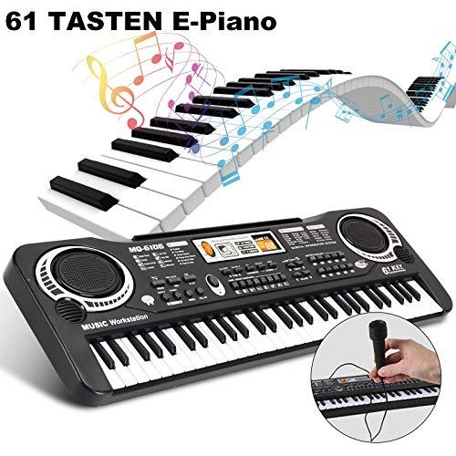 MorNon Einsteiger Keyboard E-Piano Kinder Piano Keyboard 61 Tasten Mikrofon Geschenk für Einsteiger,umfangreiche Lernfunktion