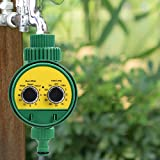 Multi-Function Two Dial Hose Water Timer Outdoor Garden Automatic Shut Off Electronic Watering Timer Garden Irrigation Controller, 3.35x4.25inch