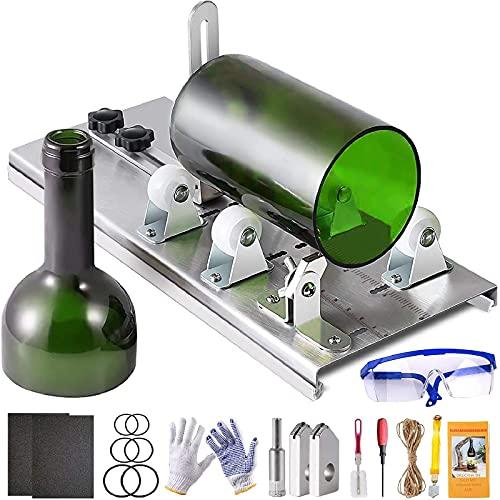 MJARTORIA Cortador de cristal para botellas, herramienta para cortar botellas de cristal y botellas redondas, acero inoxidable, cortador de botellas ajustable, herramienta DIY (varios colores)