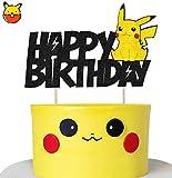 KAPOKKU Inspiration Adorable Glitter Pikachu Happy Birthday Cake Topper Pokemon Go Theme Party Cake Decorations Baby Shower Kids Birthday Party Supplies (pikachu cake topper)