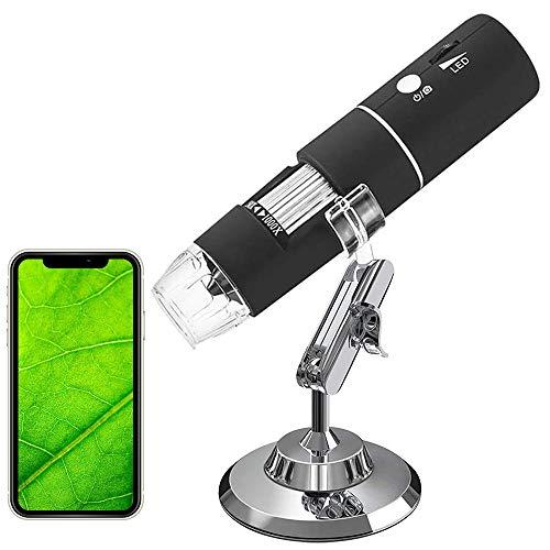 Plartree WiFi Mikroskop, 50x-1000x Vergrößerung Mikroskop Kamera, 8LED Mini Digital Mikroskop 1080P 2.0MP Full HD Vergrößerung Endoskop Kompatibel mit Android/iOS/Windows/Mac