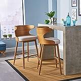 GDFStudio 304583 Truda Mid Century Modern Fabric Barstools   Set of 2, Light Beige/Natural