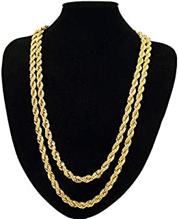 TUOKAY 18K Gold Rope Chain Necklace, Fake Gold Rope Necklace, 7mm, 24