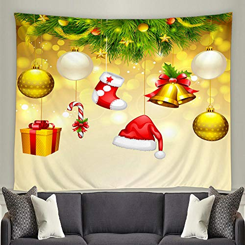 JFZJFZ Santa Claus Christmas Tree Tapestry 3d Happy Christmas Wall Hanging living room Bedroom Home Decoration Curtains-150x150cm