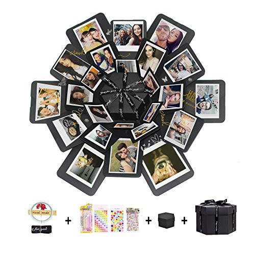 Hbsite Explosion Box Sorpresa Box Caja de Foto Hecha a Mano de Bricolaje Regalo de álbum de Recortes de Memoria de Amor 6 Caras para Navidad Cumpleaños Aniversario Regalo de Boda de San Valentín