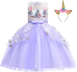 Girls Unicorn Tutu Dress Princess Kids Birthday Party Dress Girls Christmas Pony for 3-10 Y with Headband