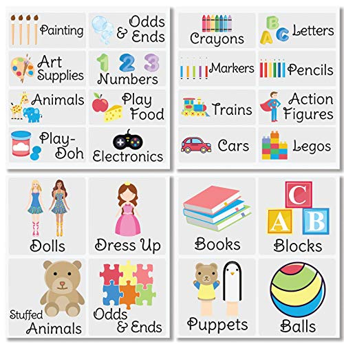 mDesign Kid's Toy Labels for Plastic Bins, Boxes, Cubbies, Drawers, Toy Boxes - for Toy Storage Organization, Use in Nursery, Kid's Bedroom, Pre-Printed Sheets - Multi-Colored, 24 Count