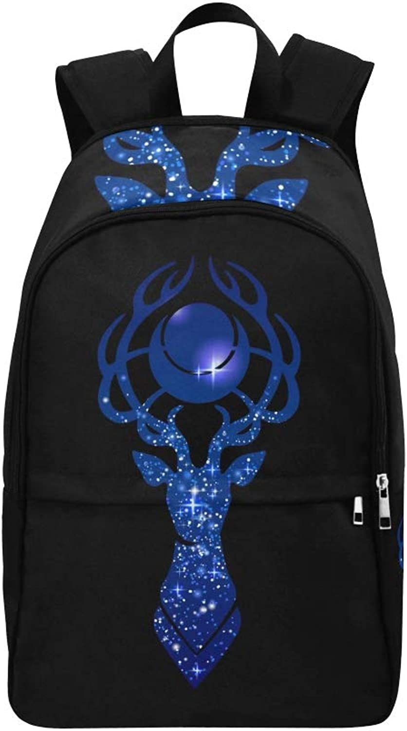 Deer Silhouette Moon Over Head Filled Casual Daypack Travel Bag College School Backpack for Mens and Women