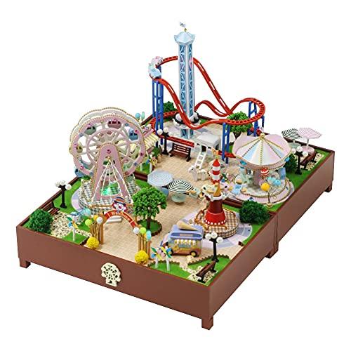 WYD Amusement Park Combination Scene Model DIY Mini Doll House Kit Park Roller Coaster Carousel and Ferris Wheel Model 3D Wooden Mini Doll House Kit with Music Movement