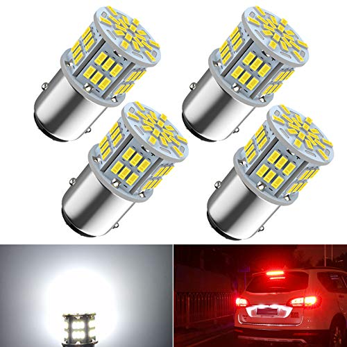 1157 Led Brake Light Bulb, 12V-24V 1157 7528 2357 2057 BAY15D LED Replacement Light Bulb for Brake Tail Running Parking Backup Light for Car RV Trailer Boat, 54SMD 3014 Chipset White light, 4PCS