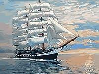 LWZH デジタル油絵 DIY数字油絵 数字キットによる絵画 塗り絵 七夕のプレゼント 大人 手塗り油絵風景画-大きな船40x50cm(フレームレス)