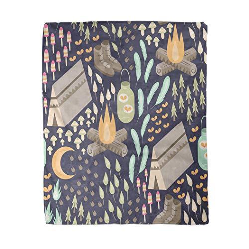 Topyee 130x150 cm Gooi Deken Plezier Kamperen Diverse en Buiten Inclusief Kampvuur Tent Wandelen Warm Gezellige Print Flanellen Home Decor Comfortabele Deken voor Bank Slaapbank Bed