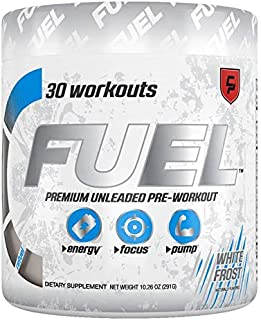 Fuel Pre Workout Powder (White Frost Monstr) Natural Healthy Ultra Energy Drink, Creatine, Caffeine, Improve Workouts, Men & Women, Keto, Nitric Oxide, Endurance, Pump, Safe, Best Tasting, Sugar Free
