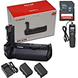 Canon BG-E20 Battery Grip for EOS 5D Mark IV + 64GB Memory Card + Compact AC/DC Charger + Timer Remote Control + 2X LP-E6N Replacement Battery