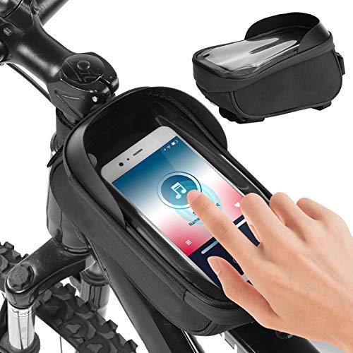 FECAMOS Bolsa de Tubo Frontal para Bicicleta Alforja para Cuadro de Bicicleta para la mayoría de los teléfonos móviles Ciclismo y Senderismo(Black Gray)
