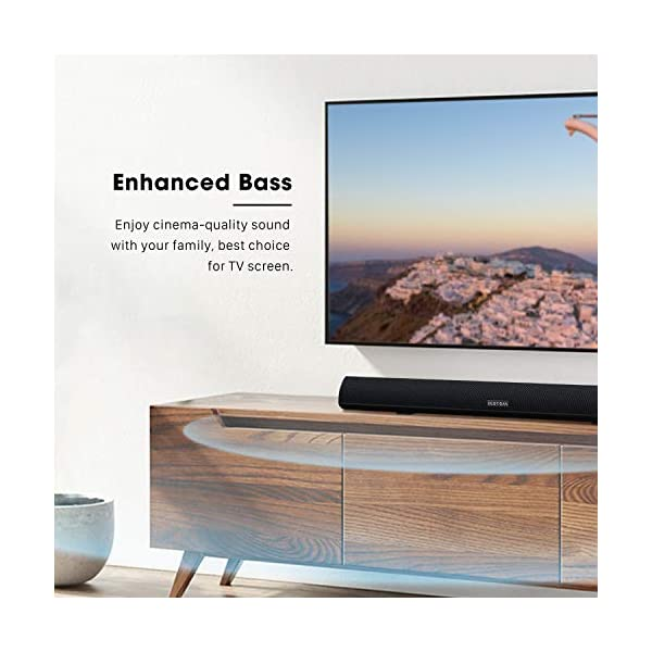 BESTISAN Soundbar, TV Sound Bar with Dual Bass Ports Wired and Wireless Bluetooth 5.0 Home Theater System (28 Inch…