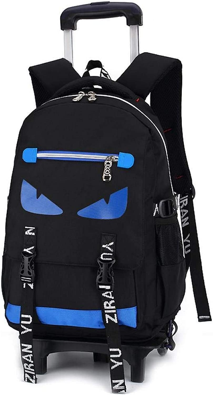HIZLJJ Rollrucksack Reiserucksack mit Rollen Trolley Schultasche Schülerrucksack (Farbe   Blau, Größe   Two Rounds)