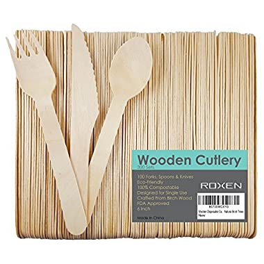 Disposable Wooden Cutlery | 300 Utensils Set | Eco-Friendly 100% Biodegradable & Compostable | 100 Forks, Spoons & Knives | 6 Inches Long | Crafted from Natural Birch Trees | BONUS FREE COOKBOOK