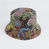 Sombrero de cubo para mujeres y hombres Imprime el algodón reversible Viaje de verano Unisex Cubo de cucharón ligero Playa al aire libre vacaciones Sombrero (Color : 17, Size : 56-58cm)