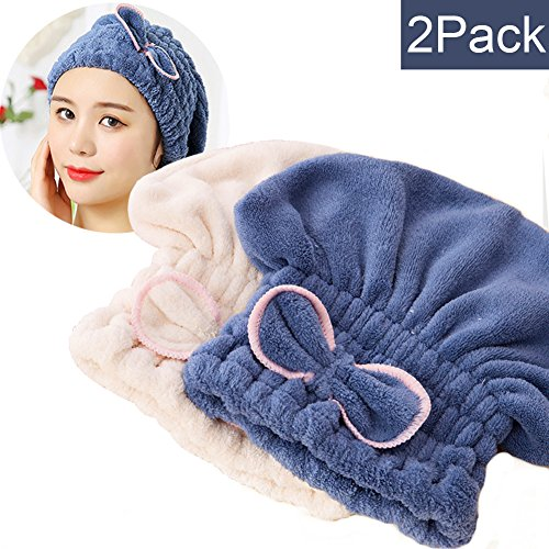 SweetCat 2PC Microfiber Hair Drying Caps, Extrame Soft & Ultra Absorbent, Fast Drying Hair Turban Wrap Towels Shower Cap for Girls and Women (Blue+Beige)…