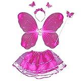 Juego de 4 disfraces de hadas para niñas con alas para la cabeza, varita para niños, disfraz de princesa de hadas, juego de rol