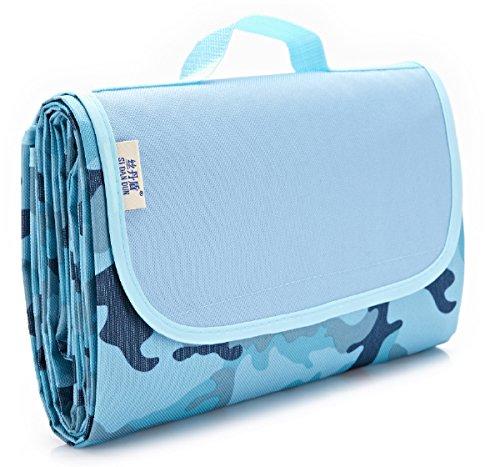 Missley 145*110CM Aufrollbare Picknickdecke Campingdecke wärmeisoliert wasserdicht mit Tragegriff
