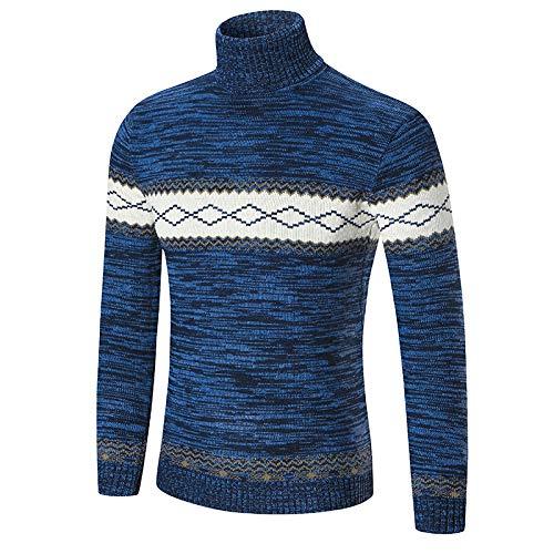 Herren T-Shirt mit hohem Kragen, schmale Passform, farblich passendes T-Shirt Gr. X-Large, blau