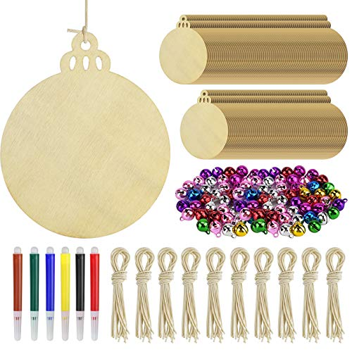 ERKOON 100 Pieces Christmas Wooden Ornaments Unfinished, Wood Crafts Round Wood Slices New Year Christmas Tree Pendant DIY Crafts Ornaments with 6 Color Markers and 100 Jingle Bells