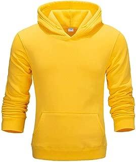 Mens Sweatshirt Pullover Hoodies Solid Blouse Hooded Pullover
