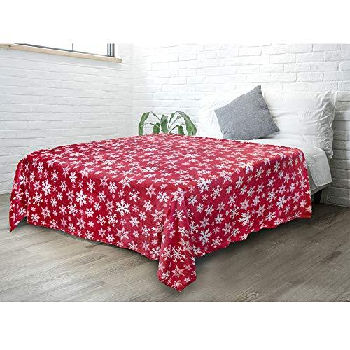 PAVILIA Christmas Throw Blanket   Red Snowflake Christmas Fleece Blanket   Soft, Plush, Warm Winter Cabin Throw, Twin 60x80 (Red/White Snowflake)