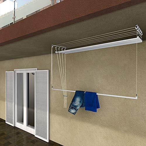 stendinik Stendibiancheria da Soffitto Salvaspazio per Interni e Esterni con 5 Aste da 200cm (Altezza soffitto 300 cm)