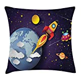 Ambesonne Outer Space Throw Pillow Cushion Cover, Rocket on Planetary System with Earth Stars UFO Saturn Sun Galaxy Boys Print, Decorative Square Accent Pillow Case, 18' X 18', Indigo White