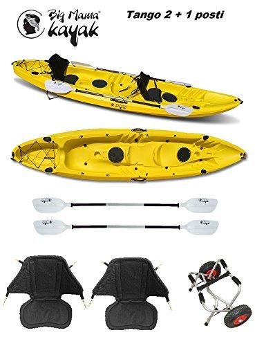 Big mama kayak - canoa tango fishing 2 + 1 posti giallo +2 pagaie 220 cm + 2 seggiolini + 2 gavoni + 4 portacanne + carrello