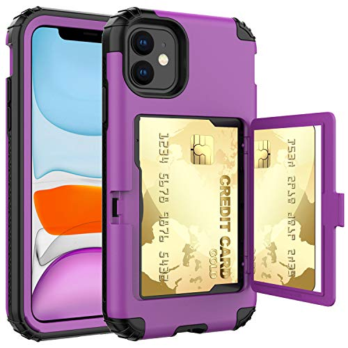 ACXLIFE iPhone 11 Case,11 Wallet Credit Card Holder Case,Protective Hybrid Cover with Card Slot Holder and Mirror & Kickstand Case for iPhone 11 6.1 Inch (Purple)