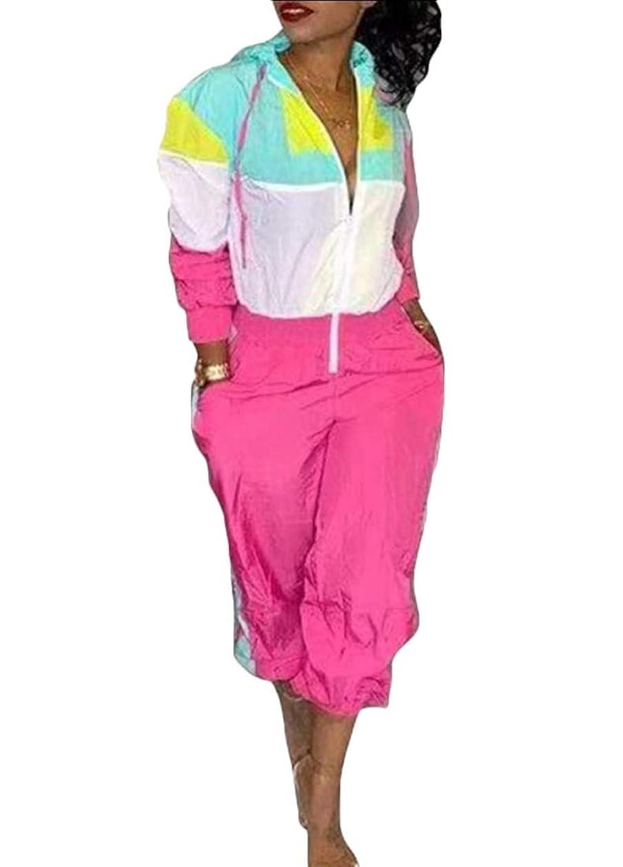 青ターゲット最愛の女性のセクシーVネックロングスリーブジャンプスーツロンパースカラーブロック高ウエストパンツトラックスーツ