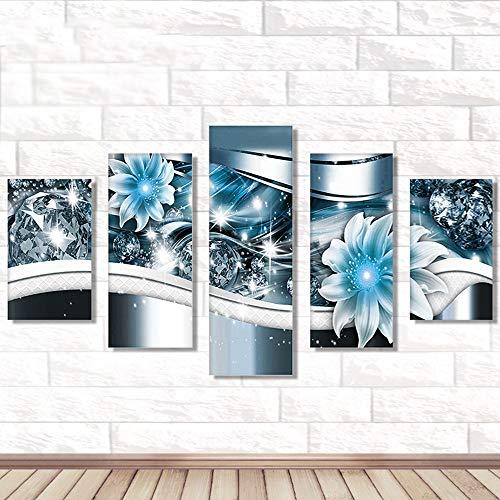 AmyGline DIY 5D Diamond Painting Set 5-Pictures Kombination Kits Diamant Malerei Kreuzstich Kristall Strass Stickerei Bilder Kunst Handwerk für Home Wall Decor 95X45