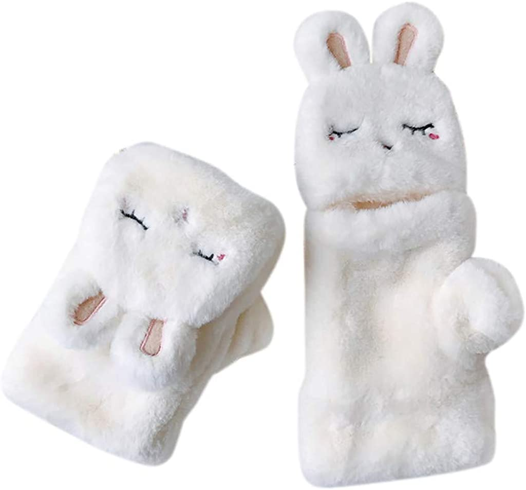 Warm Winter Gloves For Women Outdoor Coldproof,Lovely Cat Decoration Soft Plush Mitten