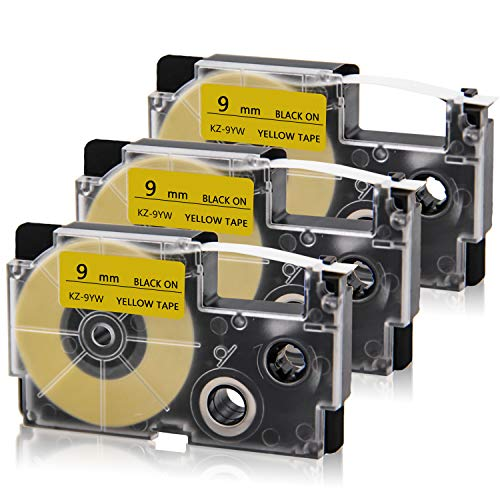 """Absonic Compatible Label Tape Replacement for XR-9YW Black on Yellow 9mm EZ-Tape Cartridge for Casio KL-60 KL-100 KL-120 KL-780 KL-820 KL-7000 KL-7200 KL-750b KL-HD1 LabelMaker, 1/2"""" x 26', 3-Pack"""