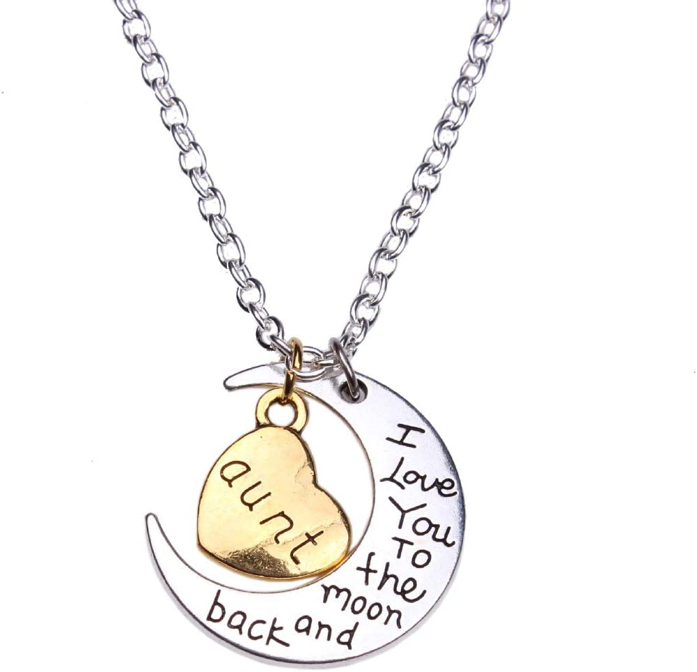 Sunvy Mom Dad Grandpa Grandma Aunt Uncle Son Daughter Sister Brother I Love You to The moom and Back Necklace Jewelry Valentines Day Birthday Mothers Day Fathers Day Gift MOM