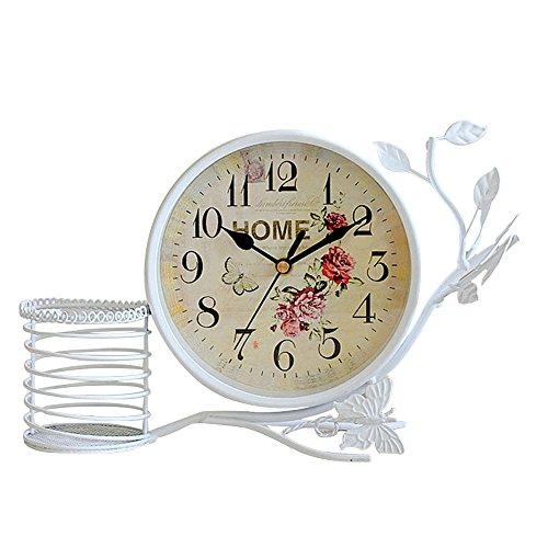 S.W.H Reloj de Mesa Decorativo con Flor y Mariposa Diseño para Salon Dormitorio Decoracion de Hogar, Blanco