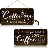 Rustic Wood Coffee Sign Rustic Home Decor All You Need is Love and Coffee Real Pallet Wood Sign Kitchen Accessories for Coffee Bar Farmhouse Home Wall Decoration, 6 x 12 Inches (Brown)