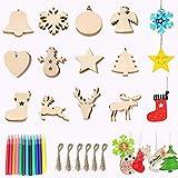 MOULLY 60 piezas Adornos Navideños de Madera+12 Bolígrafo de Acuarela Decoración del árbol de Navidad DIY Árbol de Navidad Colgante Navideño de Madera para Festival Adornos de Decoración Navideña